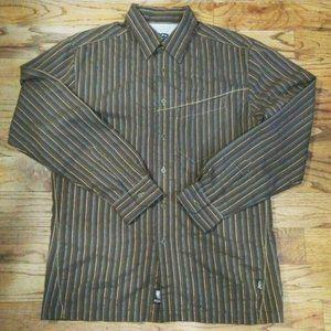 Kuhl Brown Striped Button Long Sleeved Shirt SZ M